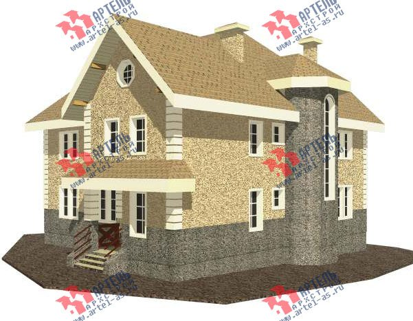 трёхэтажный дом из камня площадью свыше 200 кв. м. с  балконом, мансардой, эркером, проект Вариант 24 фотография 2737