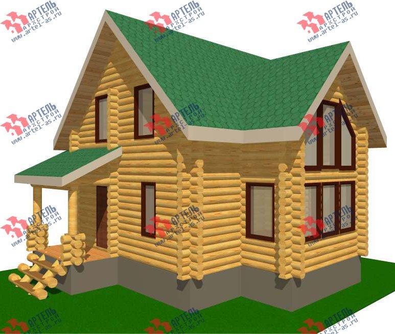двухэтажный дом из оцилиндрованного бревна площадью от 100 до 150 кв. м. с  эркером, проект Вариант 1 фотография 3023