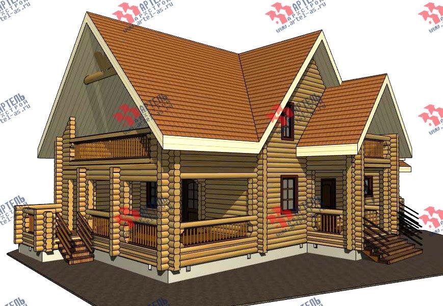 двухэтажный дом из оцилиндрованного бревна площадью свыше 200 кв. м. с  балконом, террасой, проект Вариант 3 фотография 3044