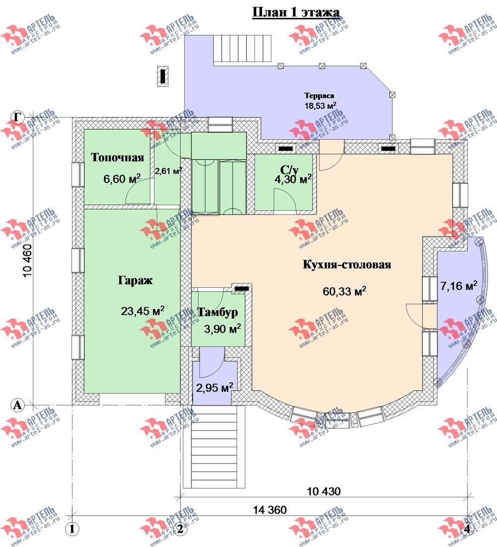 трёхэтажный дом из камня площадью свыше 200 кв. м. с  балконом, гаражом, террасой, эркером, проект Вариант 3 фотография 3136