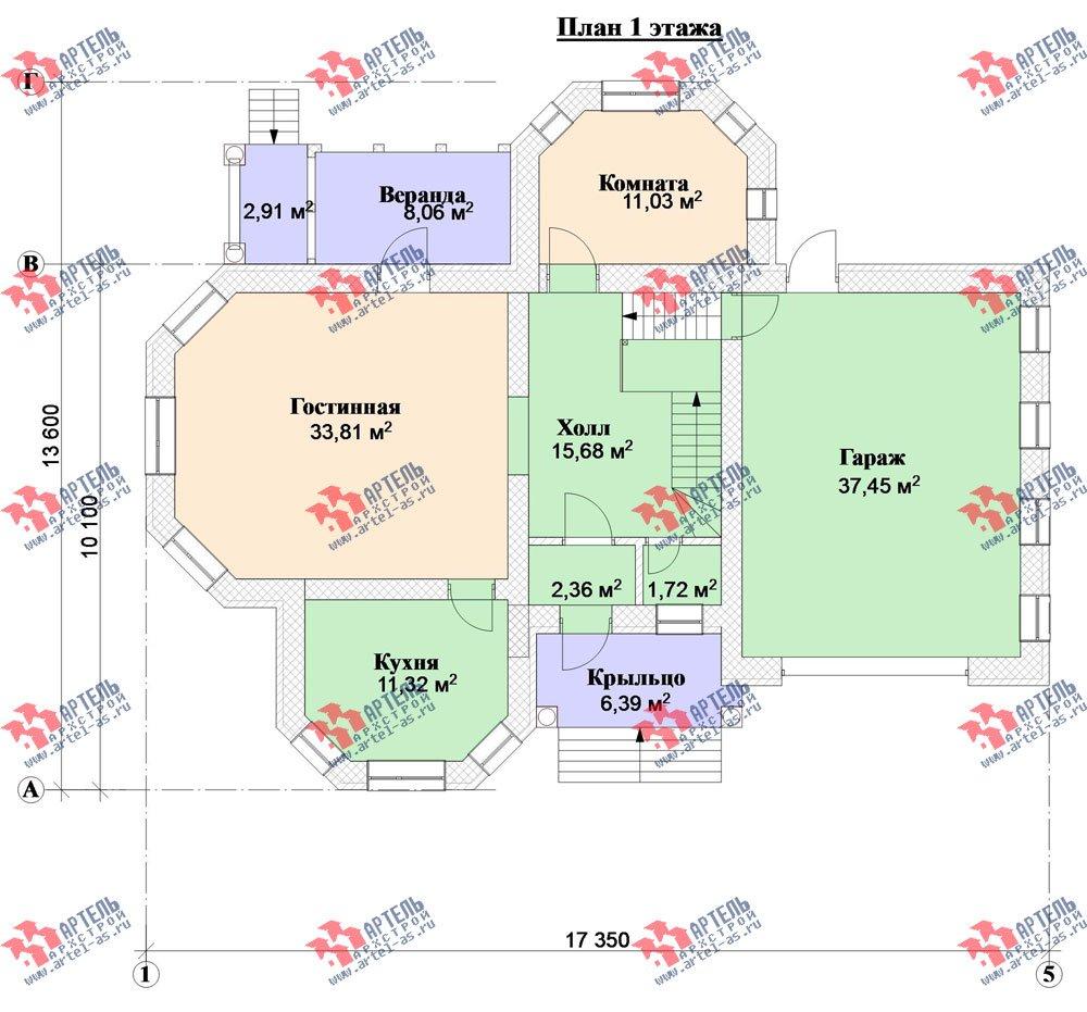 двухэтажный дом из камня площадью свыше 200 кв. м. с  верандой, гаражом, террасой, эркером, проект Вариант 2 фотография 3134