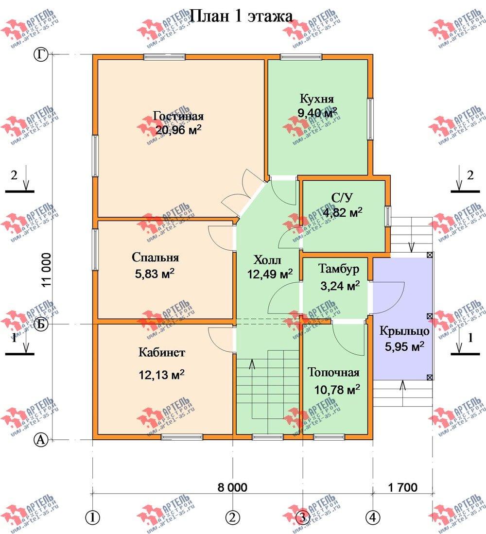 двухэтажный дом из бруса площадью от 150 до 200 кв. м. с  мансардой, проект Вариант 11 Л-2 фотография 3173