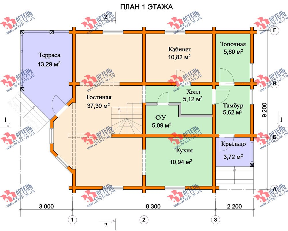 двухэтажный дом из профилированного бруса площадью от 150 до 200 кв. м. с  мансардой, террасой, проект Вариант 8.3 А фотография 3232