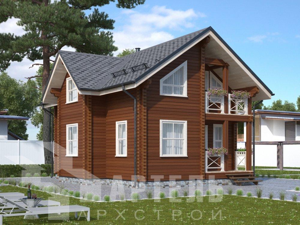двухэтажный дом омбинированные дома площадью от 100 до 150 кв. м., проект Вариант 9,9К Камень и Комбинированный фотография 6507