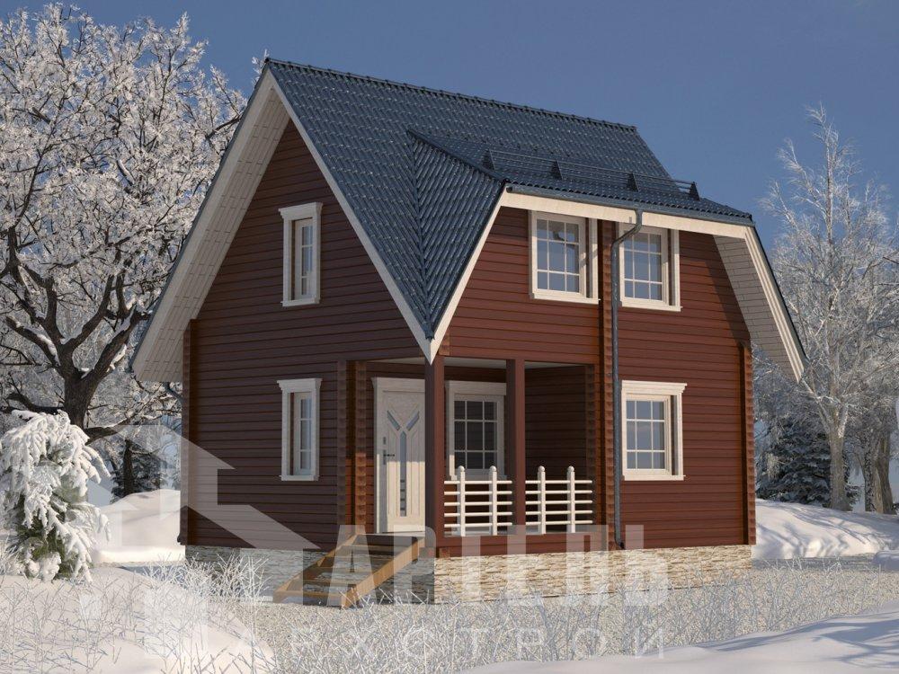 двухэтажный дом из профилированного бруса площадью до 100 кв. м. с  мансардой, проект Вариант 6 Д фотография 6559