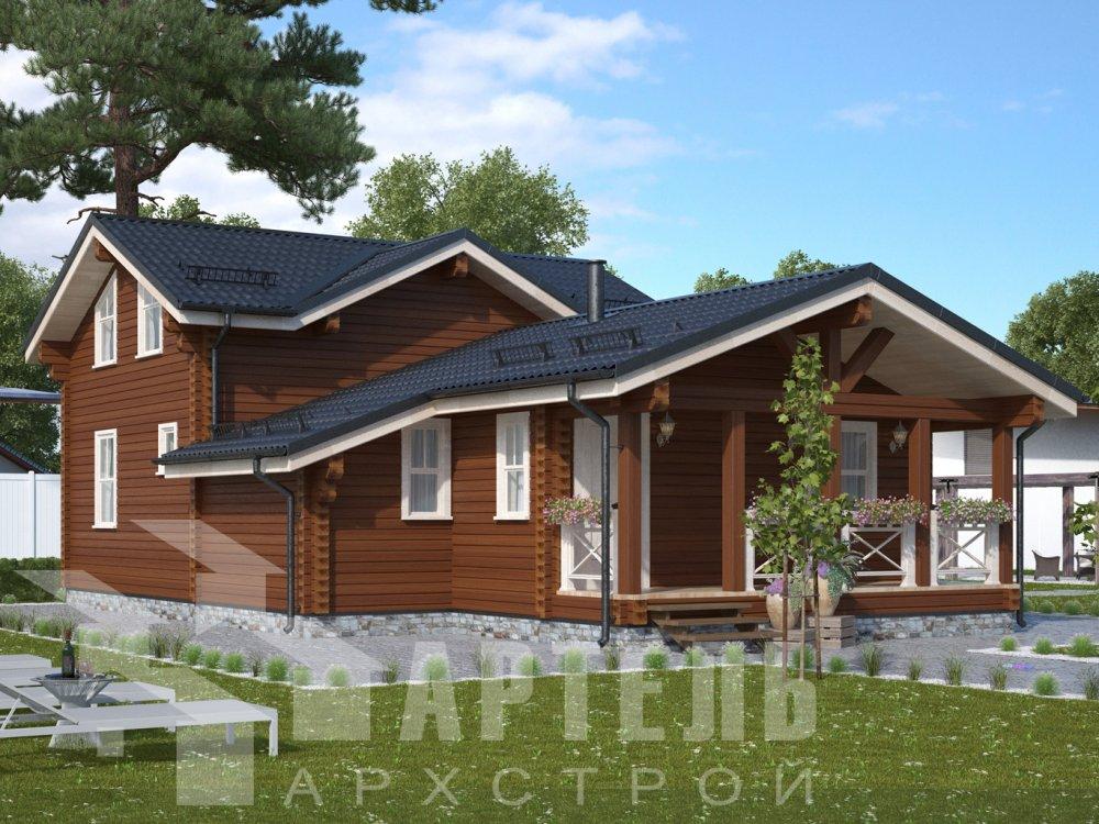 двухэтажный дом из профилированного бруса площадью от 100 до 150 кв. м., проект Вариант 13.3 А фотография 6575
