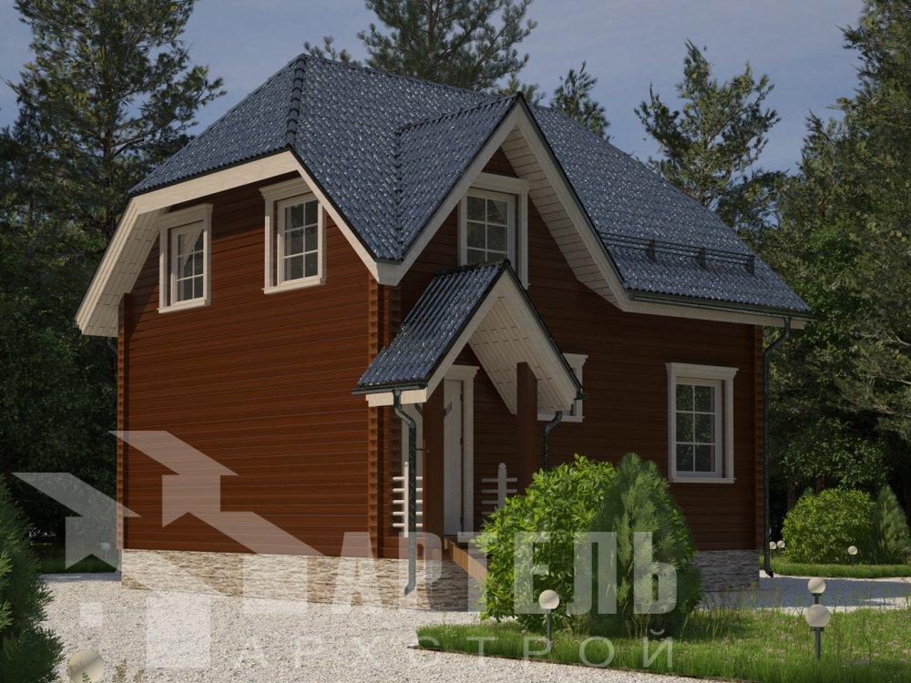 двухэтажный дом из профилированного бруса площадью до 100 кв. м. с  мансардой, эркером, проект Вариант 7 Г фотография 6592