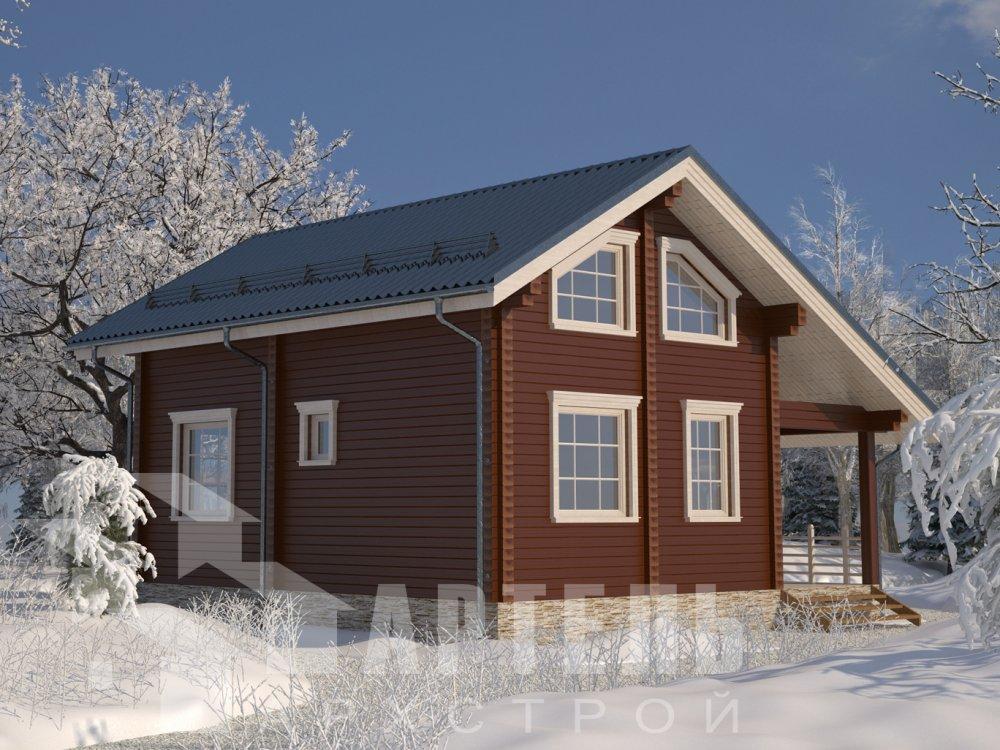 двухэтажный дом из профилированного бруса площадью от 100 до 150 кв. м. с  верандой, мансардой, эркером, проект Вариант 6 Л фотография 6611