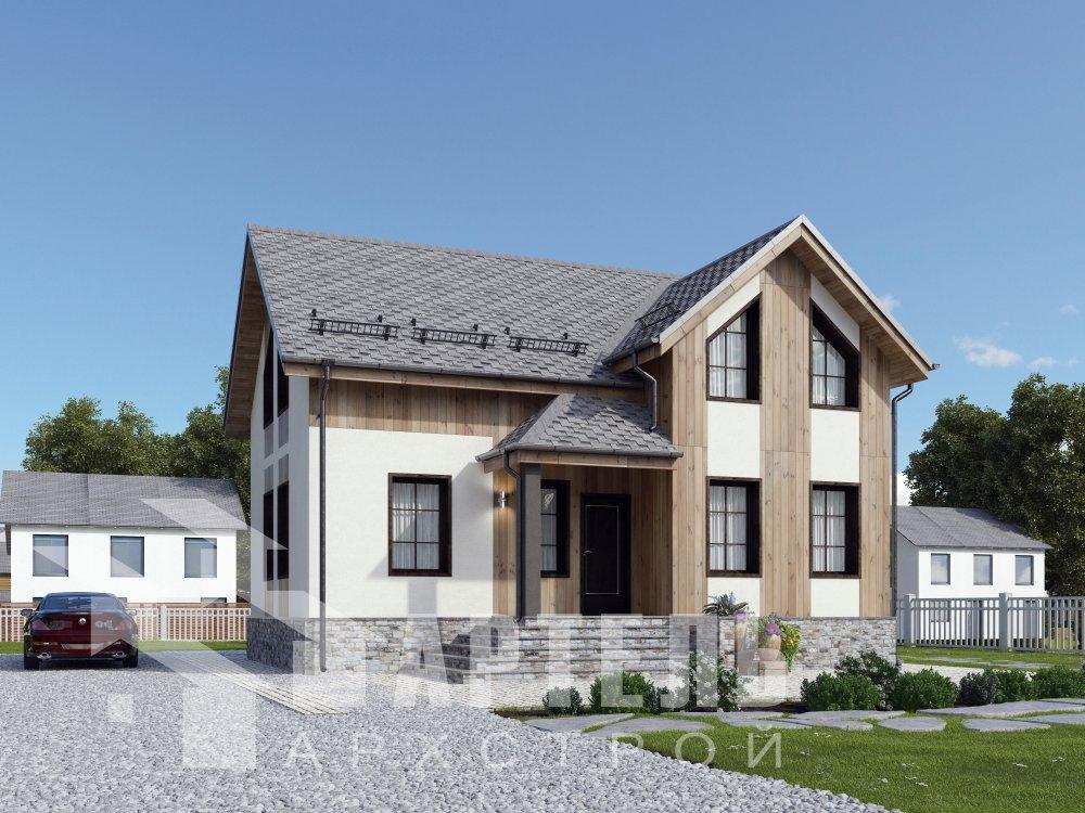двухэтажный дом омбинированные дома площадью от 100 до 150 кв. м. с  эркером, проект Вариант 9 фотография 6348