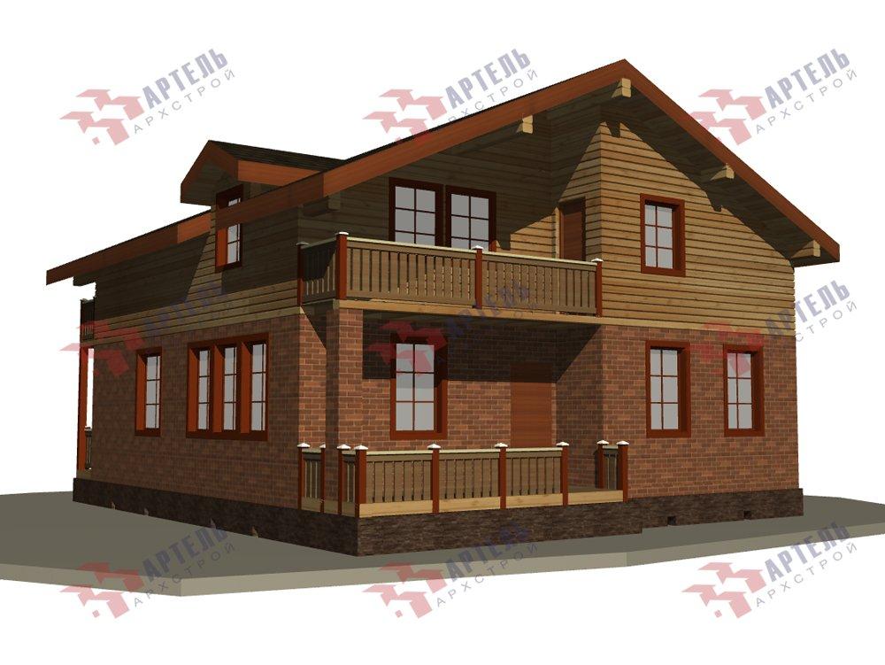 двухэтажный дом омбинированные дома площадью от 150 до 200 кв. м. с  балконом, эркером, проект Вариант 26 Камень и Комбинированный фотография 6225