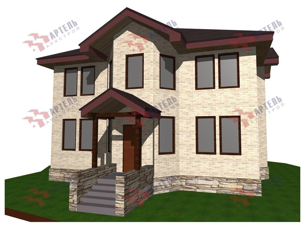 двухэтажный дом омбинированные дома площадью свыше 200 кв. м. с  эркером, проект Вариант 10,6К Камень и Комбинированный фотография 6268