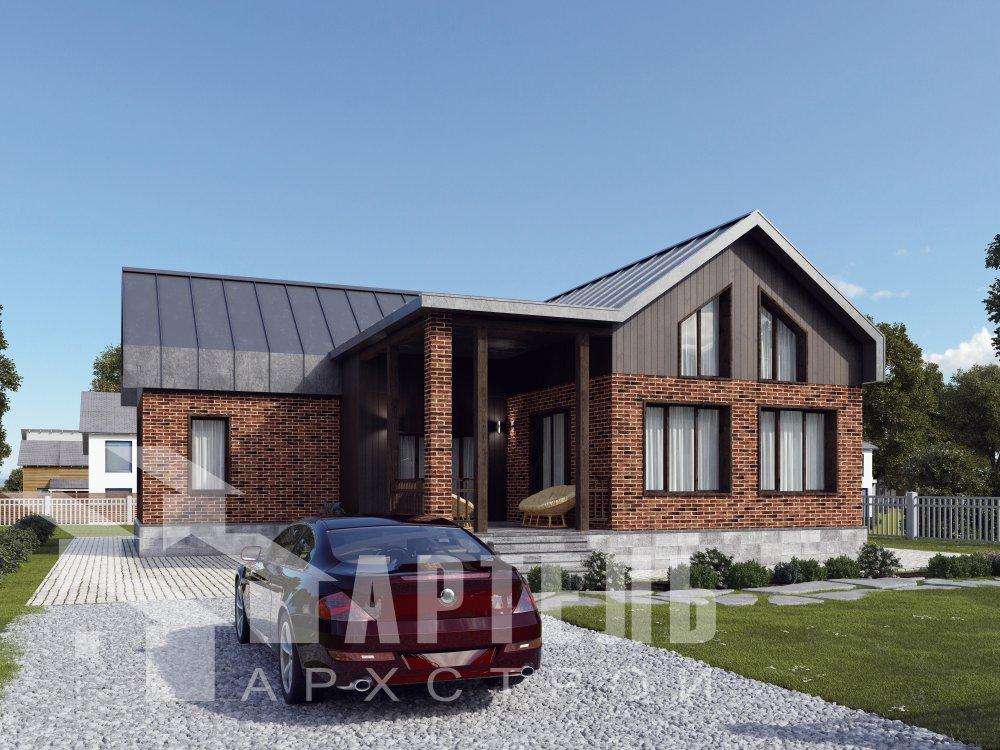 дом омбинированные дома, проект Вариант 14Т Камень и Комбинированный фотография 6339