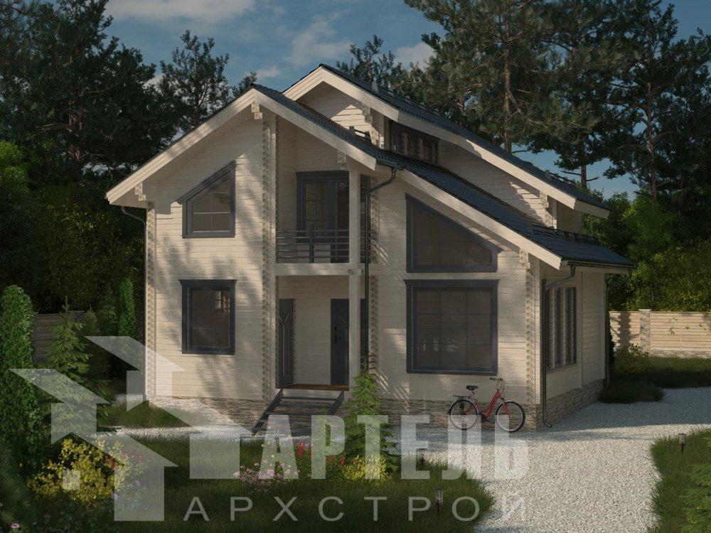двухэтажный дом из профилированного бруса площадью от 100 до 150 кв. м. с  балконом, мансардой, проект Вариант 9.3 К фотография 6403