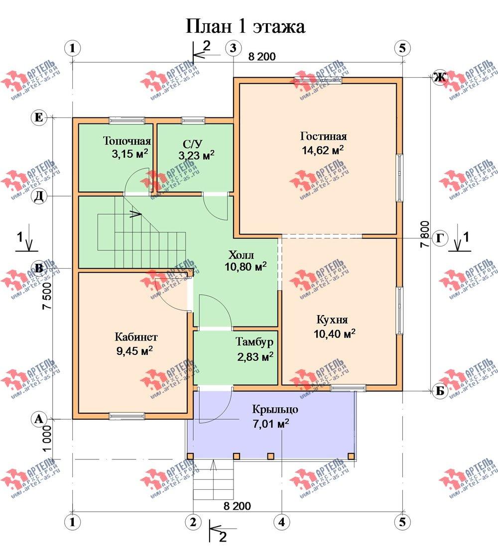 двухэтажный дом из бруса площадью от 100 до 150 кв. м. с  мансардой, эркером, проект Вариант 8.2 А фотография 2180