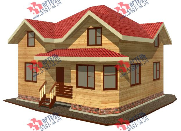 двухэтажный дом из бруса площадью от 100 до 150 кв. м. с  мансардой, эркером, проект Вариант 9 Г фотография 2198