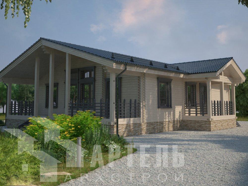 одноэтажный дом из профилированного бруса площадью от 100 до 150 кв. м. с  террасой, проект Вариант 12.4 Б фотография 6419