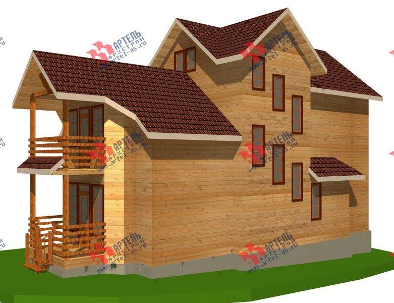 трёхэтажный дом из бруса площадью свыше 200 кв. м. с  балконом, мансардой, проект Вариант 6.3 Н фотография 2291