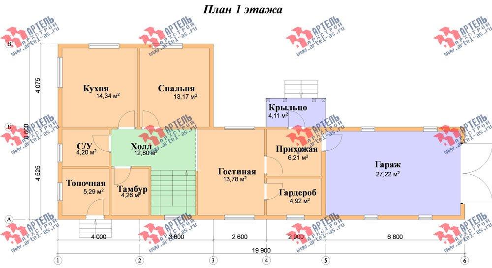 двухэтажный дом из бруса площадью от 150 до 200 кв. м. с  гаражом, мансардой, проект Вариант 8.6 Б фотография 2441