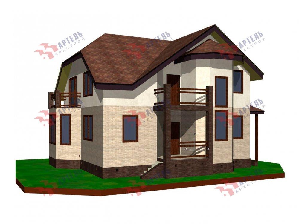 двухэтажный дом из камня площадью от 150 до 200 кв. м. с  балконом, эркером, проект Вариант 25 фотография 6441