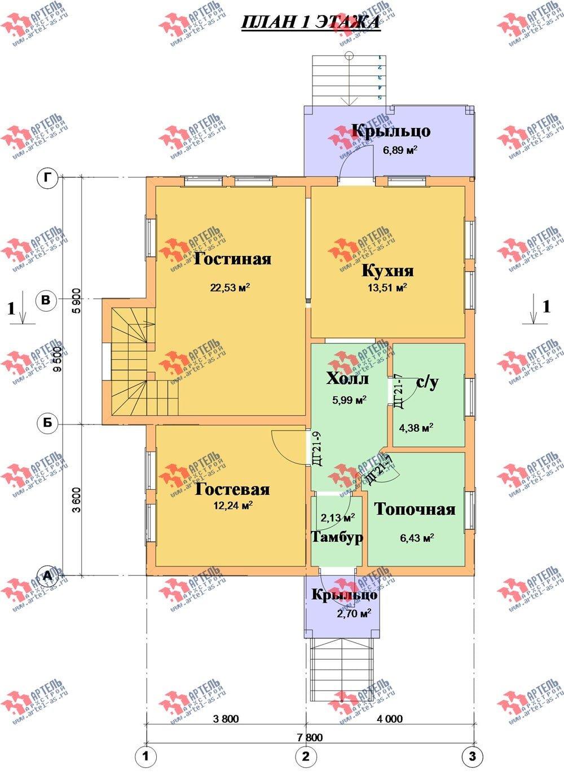 двухэтажный дом из бруса площадью от 100 до 150 кв. м. с  мансардой, проект Вариант 4 фотография 2513