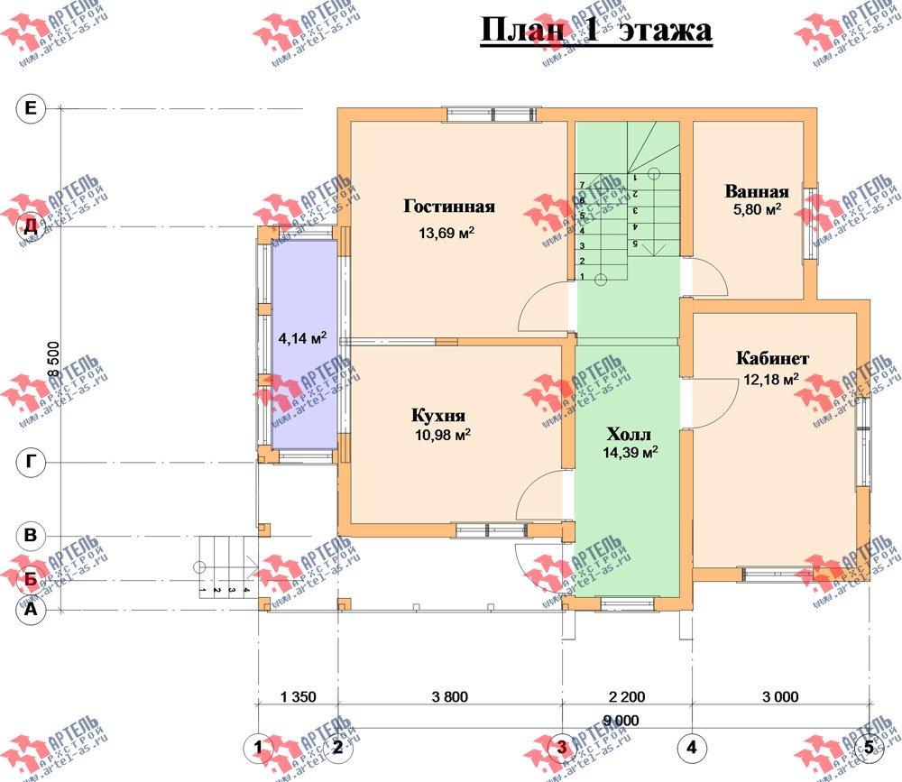 двухэтажный дом из профилированного бруса камерной сушки площадью от 100 до 150 кв. м. с  балконом, мансардой, террасой, проект Вариант 1 фотография 2524