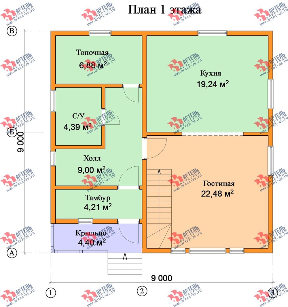 двухэтажный дом из бруса площадью от 100 до 150 кв. м. с  мансардой, проект Вариант 9 Ж-1 фотография 2572