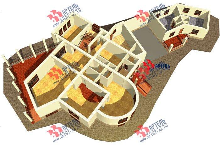 двухэтажный дом из камня площадью свыше 200 кв. м. с  террасой, эркером, проект Вариант 1 фотография 439