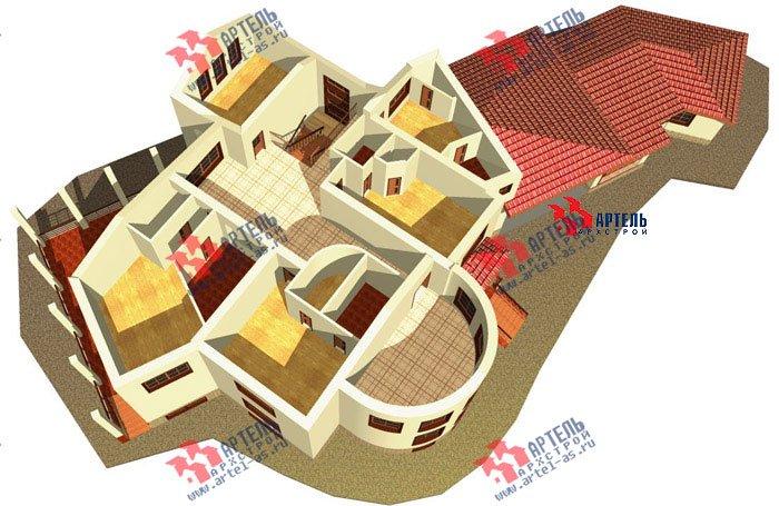 двухэтажный дом из камня площадью свыше 200 кв. м. с  террасой, эркером, проект Вариант 1 фотография 440