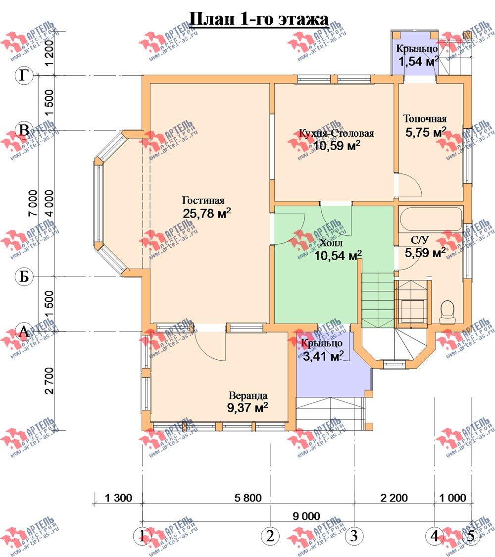 двухэтажный дом из профилированного бруса камерной сушки площадью от 100 до 150 кв. м. с  мансардой, эркером, проект Вариант 2 фотография 2535