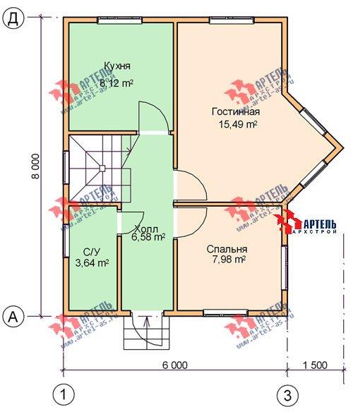 двухэтажный дом из бруса площадью до 100 кв. м. с  мансардой, эркером, проект Вариант 6 А фотография 677