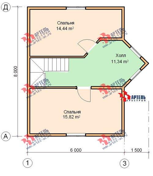 двухэтажный дом из бруса площадью до 100 кв. м. с  мансардой, эркером, проект Вариант 6 А фотография 678
