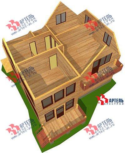 двухэтажный дом из профилированного бруса площадью от 150 до 200 кв. м. с  балконом, мансардой, проект Вариант 9 К фотография 1279