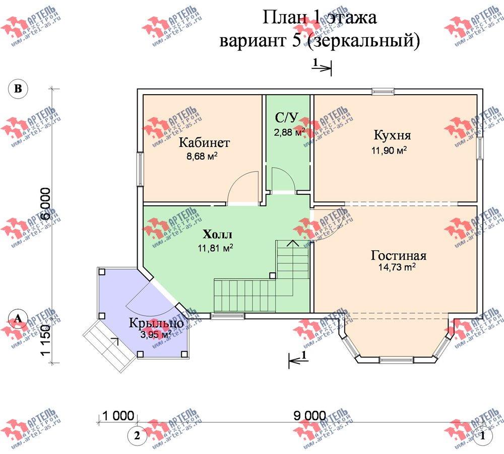 двухэтажный дом из профилированного бруса площадью от 100 до 150 кв. м. с  балконом, мансардой, эркером, проект Вариант 6 К фотография 753