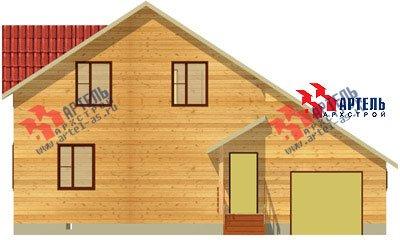 двухэтажный дом из бруса площадью свыше 200 кв. м. с  верандой, гаражом, мансардой, проект Вариант 12.8 А фотография 1443