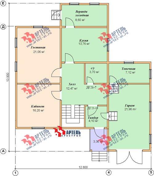 двухэтажный дом из бруса площадью свыше 200 кв. м. с  верандой, гаражом, мансардой, проект Вариант 12.8 А фотография 1449