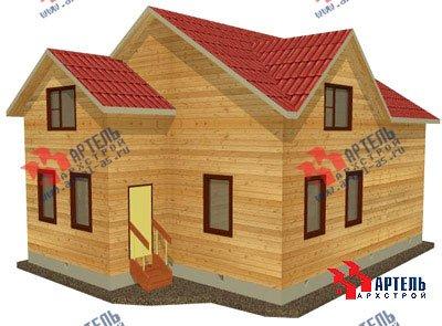 двухэтажный дом из бруса площадью свыше 200 кв. м. с  верандой, гаражом, мансардой, проект Вариант 12.8 А фотография 1442