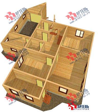 двухэтажный дом из бруса площадью свыше 200 кв. м. с  верандой, гаражом, мансардой, проект Вариант 12.8 А фотография 1447