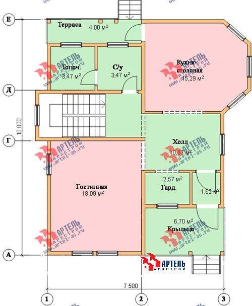 двухэтажный дом из бруса площадью от 100 до 150 кв. м. с  балконом, мансардой, террасой, эркером, проект Вариант 7.5 В фотография 941