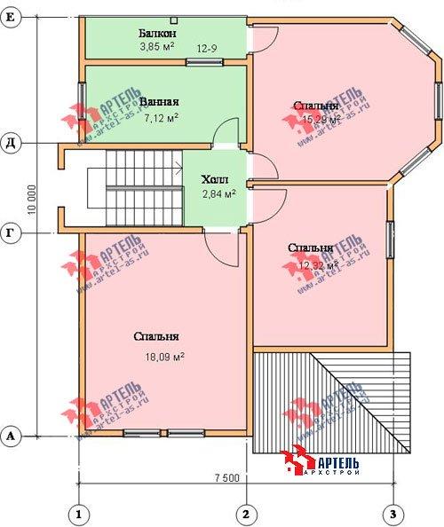 двухэтажный дом из бруса площадью от 100 до 150 кв. м. с  балконом, мансардой, террасой, эркером, проект Вариант 7.5 В фотография 942