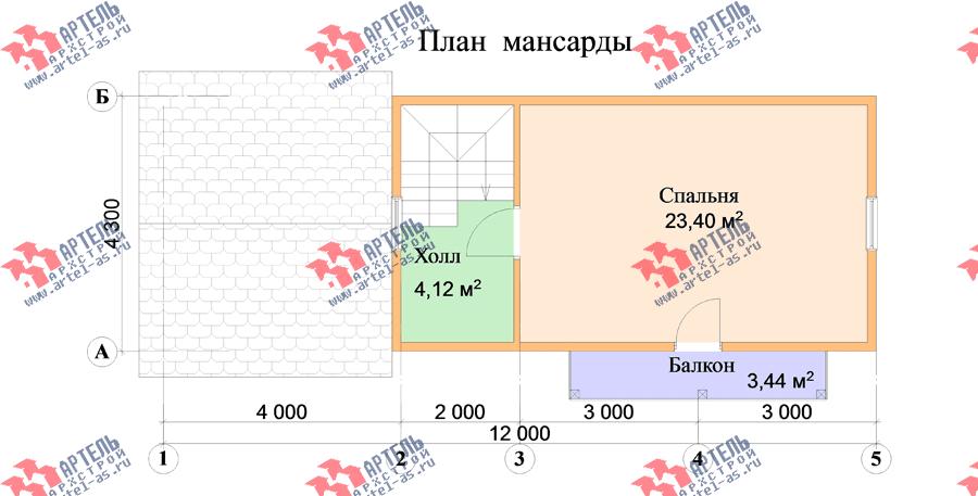 двухэтажный дом из профилированного бруса площадью до 100 кв. м., проект Вариант 7 фотография 3349