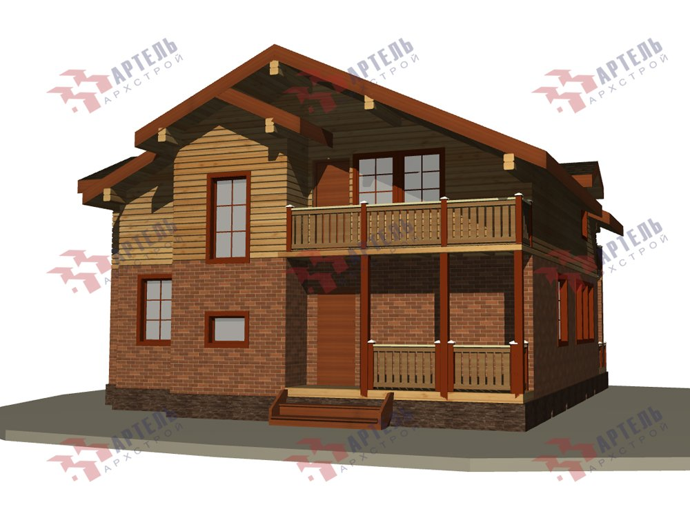 двухэтажный дом из камня площадью от 150 до 200 кв. м. с  балконом, эркером, проект Вариант 26 фотография 6198