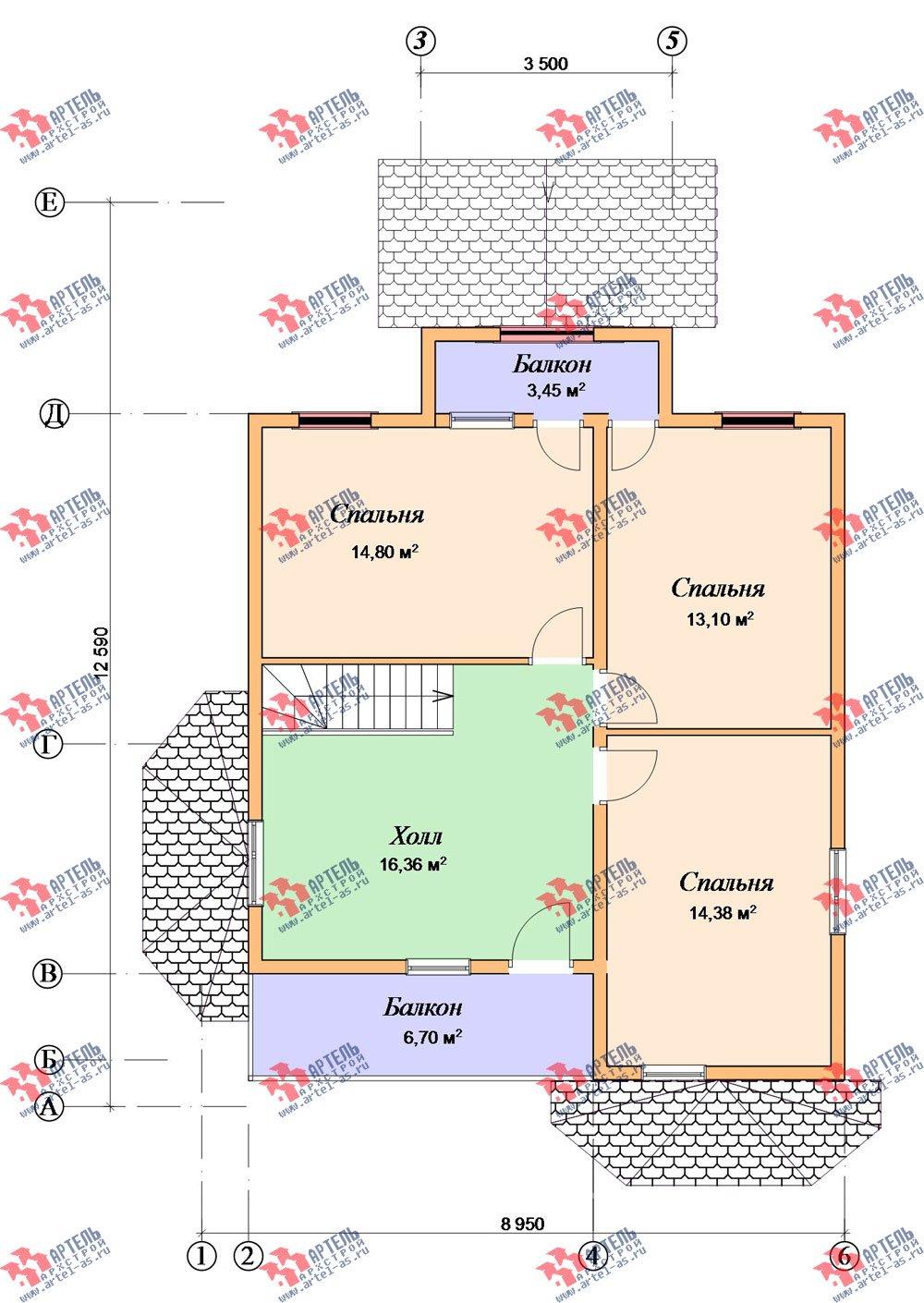 двухэтажный дом из бруса площадью от 150 до 200 кв. м. с  балконом, мансардой, террасой, эркером, проект Вариант 8 К-3 фотография 2469
