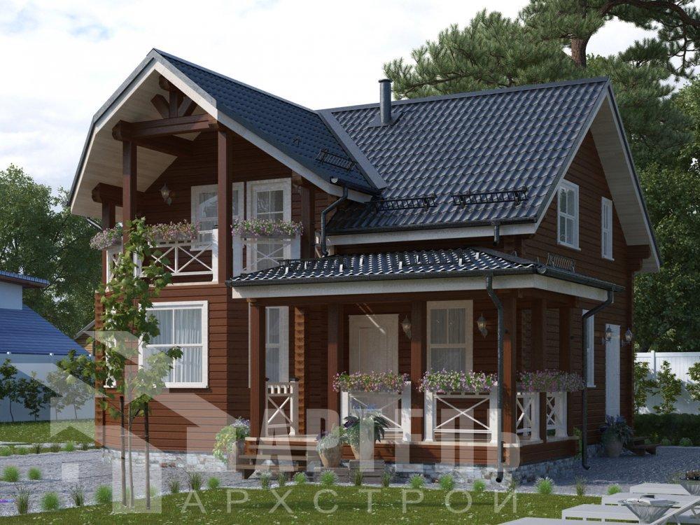 двухэтажный дом из профилированного бруса площадью от 100 до 150 кв. м. с  балконом, террасой, проект Вариант 10.7Л фотография 6555