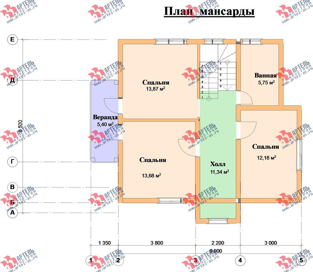 двухэтажный дом из профилированного бруса камерной сушки площадью от 100 до 150 кв. м. с  балконом, мансардой, террасой, проект Вариант 1 фотография 2525