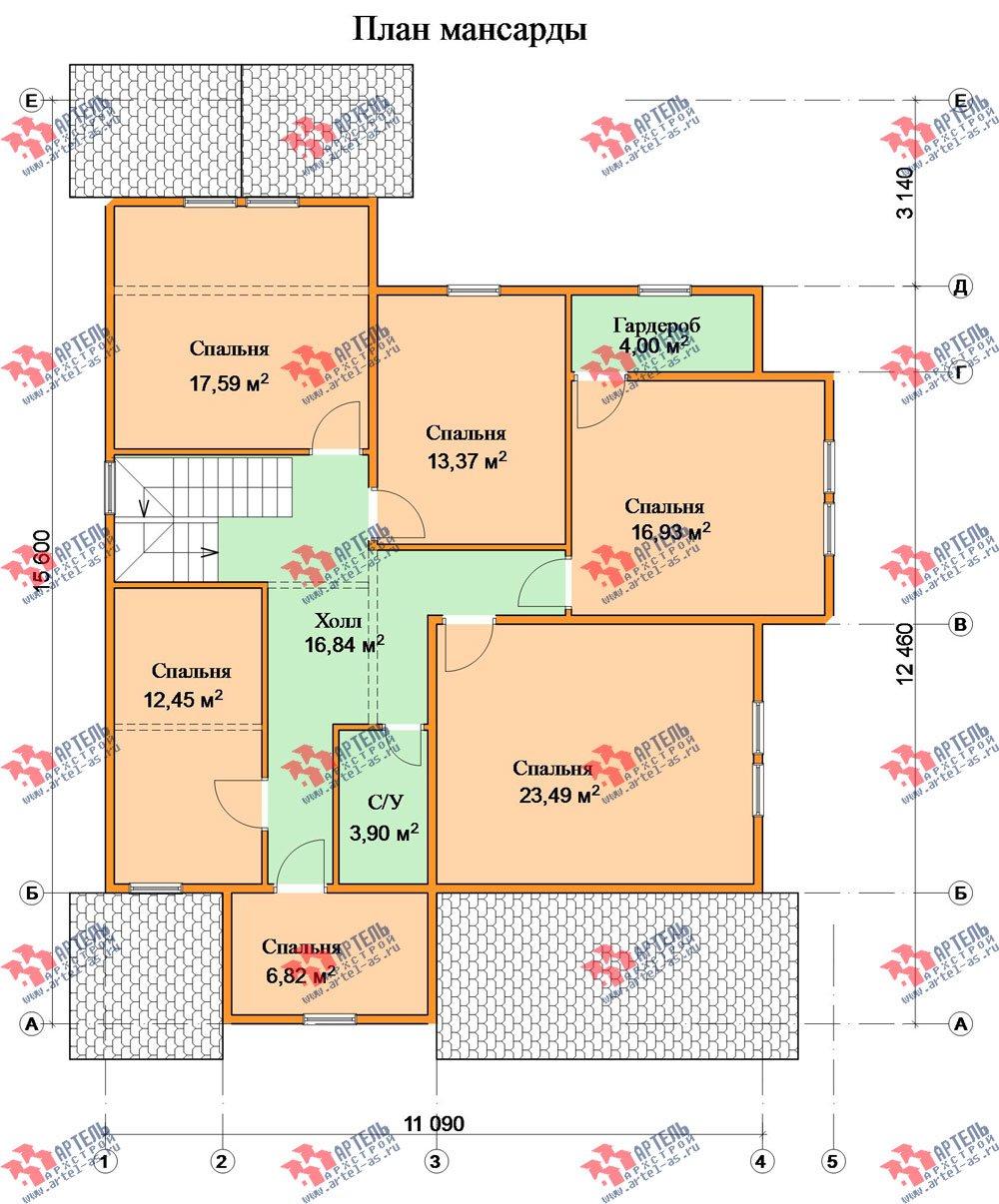 двухэтажный дом из бруса площадью свыше 200 кв. м. с  мансардой, террасой, проект Вариант 11.1 А фотография 2584