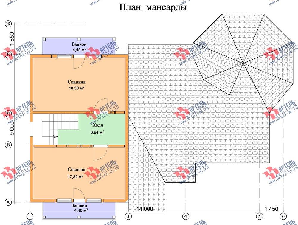 двухэтажный дом из профилированного бруса площадью от 150 до 200 кв. м. с  балконом, мансардой, эркером, проект Вариант 9 Е-1 фотография 2600