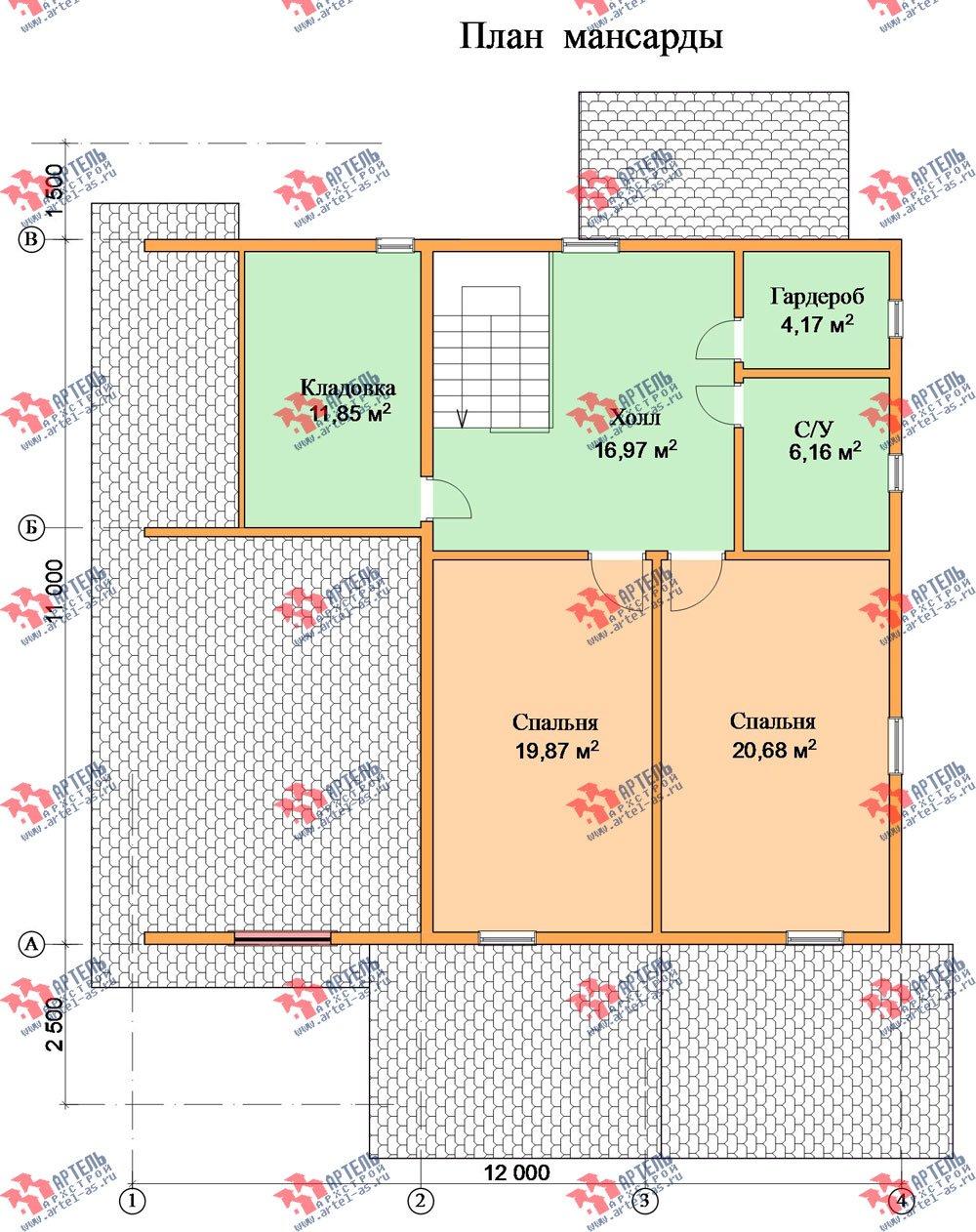 двухэтажный дом из бруса площадью свыше 200 кв. м. с  мансардой, террасой, проект Вариант 11 Л-1 фотография 2634