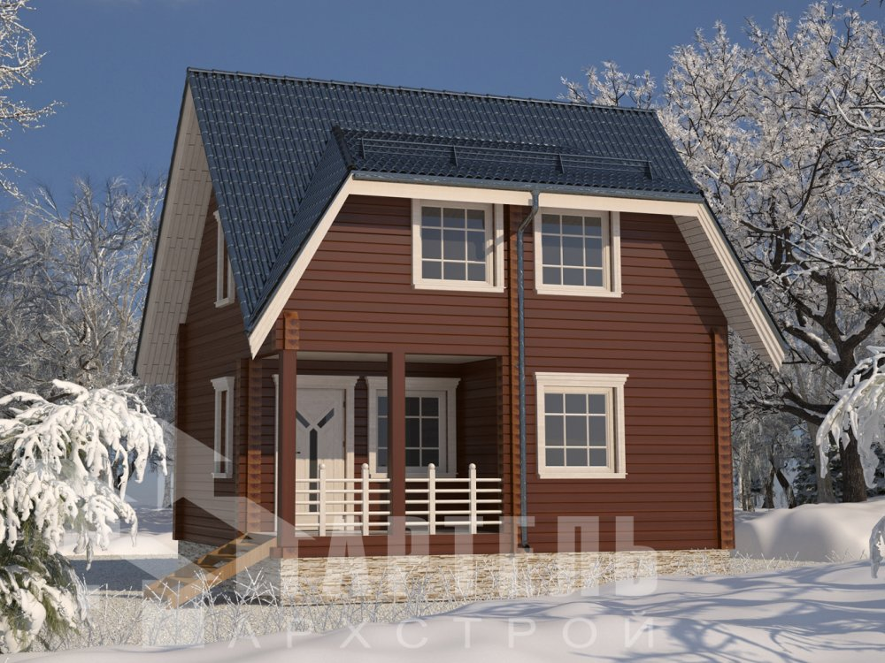 двухэтажный дом из камня площадью от 150 до 200 кв. м. с  балконом, эркером, проект Вариант 25 фотография 2769