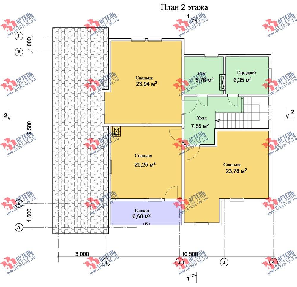 двухэтажный дом из камня площадью свыше 200 кв. м. с  балконом, террасой, проект Вариант 27 фотография 2942