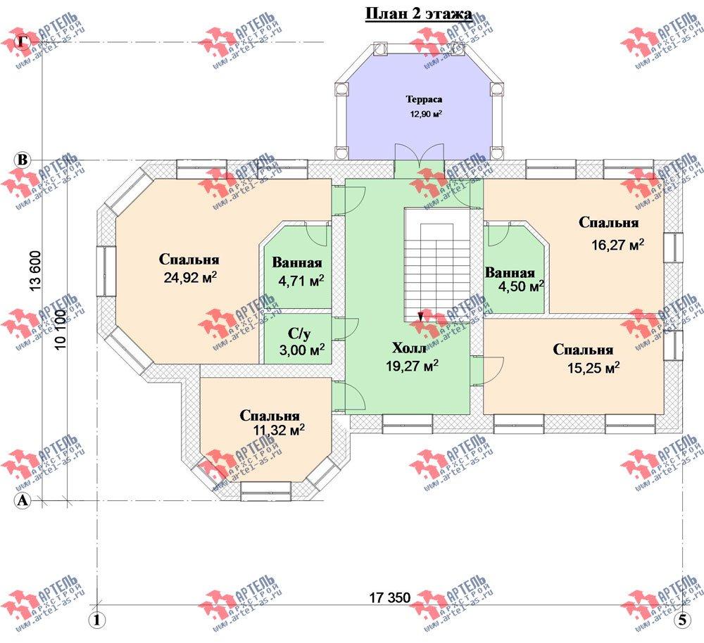 двухэтажный дом из камня площадью свыше 200 кв. м. с  верандой, гаражом, террасой, эркером, проект Вариант 2 фотография 3135